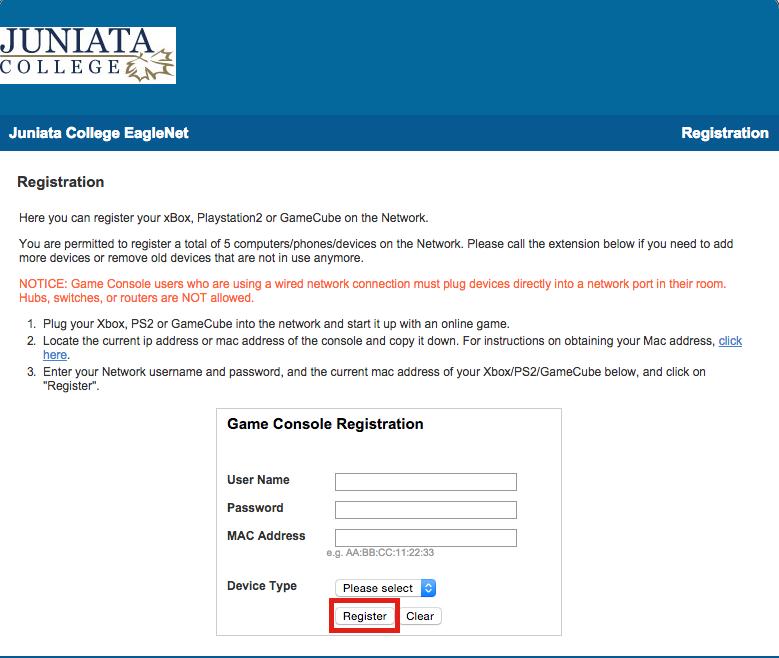Registering a PS4 - Juniata College CTS