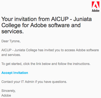 Adobe Invite Email
