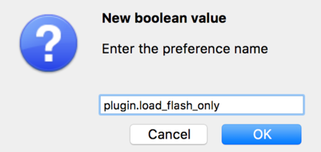 Enter 'plugin.load_flash_only'