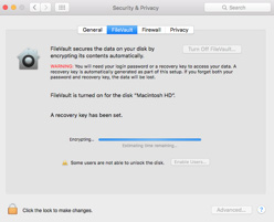 FileVault will encrypt your hard drive after restarting