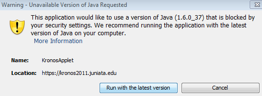 Choose the 'Run with the latest version' button