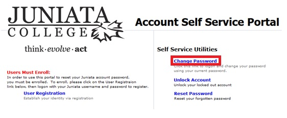 Changing Your Password - Juniata College CTS